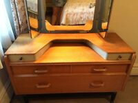 UNIQUE 1961 G PLAN DRESSING TABLE WITH TRI - MIRROR AND LIGHT