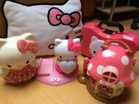 Hello Kitty bundle - play house, iPod dock, nail care carry case, cushion & money bank. Bargain!!!