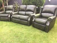 Thomas Lloyd Saxon leather green Chesterfield style Study sofa suite can deliver