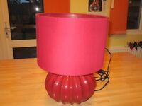 Burgundy Table Lamp, as new.