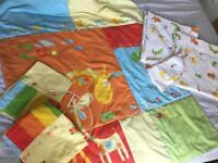 5 piece nursery bedding, light & curtains