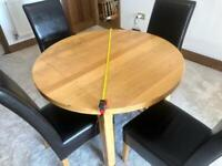 Extending Round / Oval Solid Oak Dining Table Set & 5 Leather Effect Chairs