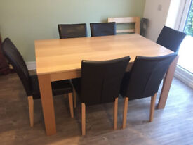 Beech Dining Room table and 6 high back chairs