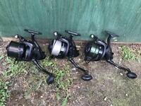 3 x Wychwood dispatch 7500 reels carp fishing