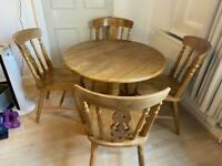Solid wood table and set of 4 chairs for sale