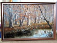 Framed Autumn River Scene oil painting