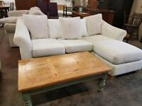 Large cream fabric corner sofa with armchair
