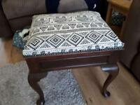Solid wood stool with storage