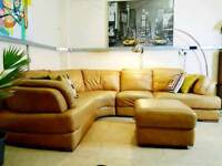 SCS modular corner tan leather sofa REP £1800