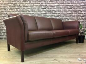 Danish Børge Mogensen Style 3 Seater Burgundy Leather Sofa By Skalma
