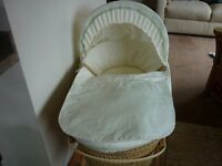 Moses Basket Classic Winnie The Pooh and Wooden Stand Luxury Padded Basket