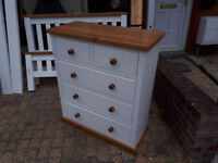 CHEST OF 2 SHORT OVER 3 LONG OLD CREAMERY QUAKER STYLE CHEST OF DRAWERS IN YEOVIL