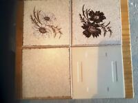 "Vintage / retro H&R Johnson beige ceramic 'Cristal' tiles (80's) 6"" x 6"""