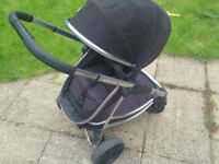 Icandy Strawberry Pushchair and carrycot. Faces front and back, lightweight. Fits in small cars.