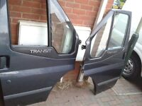 Ford Transit Mk 7 Front Doors X2 complete with electric windows. In ford 'Sea Grey'
