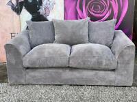 New Dunelm Denver Grey Fabric 2 Seater Sofa