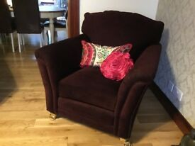 Traditional armchair. Dark plum. Excellent condition.