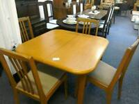 Teak Square extending table with 4 chairs #32774 £89