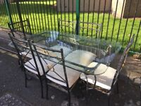 Metal dining suite and bookcase