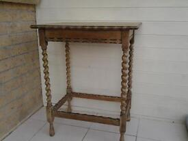 Hall, lamp, console table, vintage, barley twist legs, oak, stripped and waxed