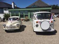 Wedding cars.... VW camper, Morris Minor and Replica Bentley