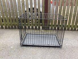 DOG CRATE - medium size - folding - black