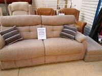 3 seater sofa and pouffe