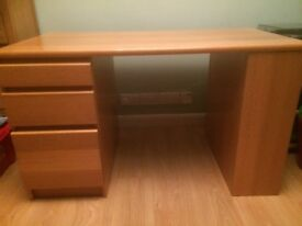 Desk, light ash colour, with 3 drawers and 3 shelves at the end.