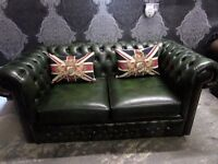 Immaculate Chesterfield 2 Seater Sofa Green Leather Low Back Delivery