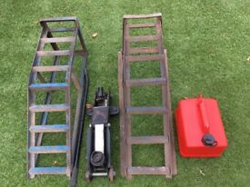 Pair Ramps, Hydraulic Trolly Jack, Fuel Container