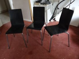 Retro Vintage 60's or 70's Original Wooden Chairs Set of 3