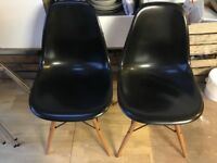 2 Eames style Black chairs