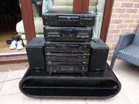 KENWOOD HiFi SEPERATES SYSTEM AMP/ CD / TUNER/TAPE /IPOD-MP3 PLAYER LEAD /SPEAKERS +AV STAND