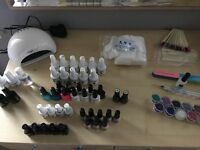 Led lamp, Jessica s&f, nail art tools, 11 glitters, 41 gel polish colours of varying makes & sizes