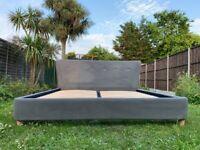 Loaf Smoke Velvet 6FT Super King Size Bed Frame– Great Condition - RRP £1,195