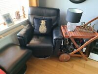 2 X Leather Swivel Chairs with footstool