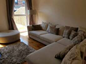 DFS Corner Couch, 2 Seater Sofa and Footstool
