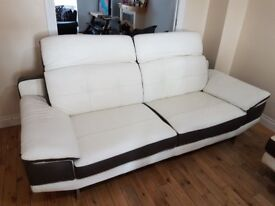 Modern white and chocolate leather sofa suite