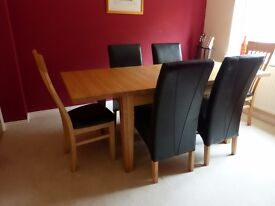 Solid Ash Extending Dining Room Table and 6 Chairs by Peter Green