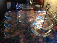 3 RETRO 3 TIER GLASS CAKE STANDS
