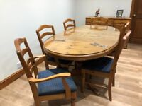 Pine table chairs and dresser