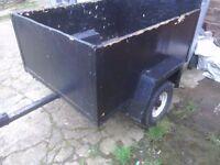 A car trailer 4feetx 3feet leaf springs rear lights spare weel