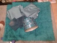soft furnishings , curtains , rug , throw , cushion covers lamp shade , turquoise ,offers welcome