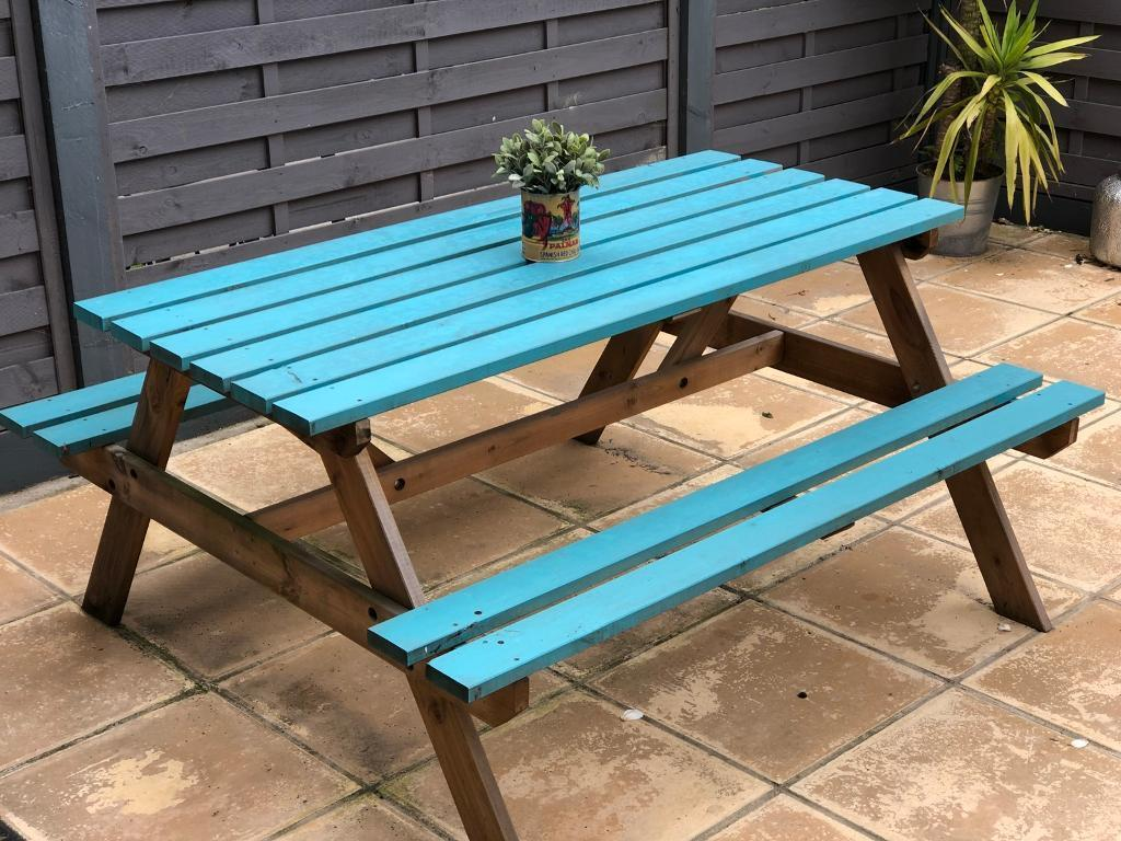 Strange Bright Blue Garden Picnic Table In Chingford London Gumtree Gmtry Best Dining Table And Chair Ideas Images Gmtryco