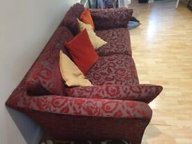 3 seater burgundy sofa (Collection only)