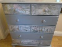 Pine Chest of Drawers - Painted and Decoupaged