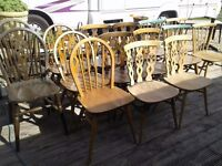 15 X ERCOL CHAIRS SELECTION JOB LOT SOME RARE STICKBACKS SOUND AND SOLID ERCOL