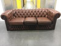 Leather chesterfield sofa •free delivery
