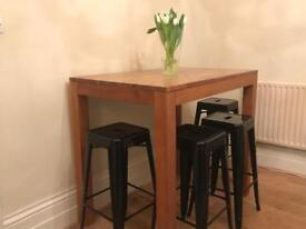 high bar table in wood