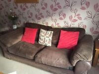 Brown fabric 3 seater sofa with matching swivel chair